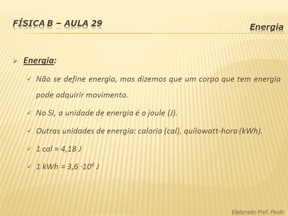 Física B – Aula 29 Energia. Energia: Não se define energia, mas dizemos que um corpo que tem energia pode adquirir movimento.