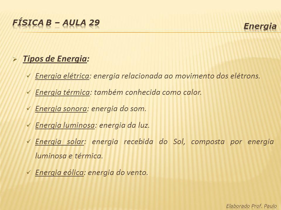 Física B – Aula 29 Energia. Tipos de Energia: Energia elétrica: energia relacionada ao movimento dos elétrons.
