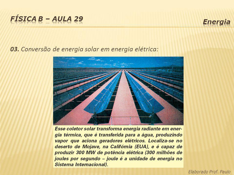 03. Conversão de energia solar em energia elétrica: