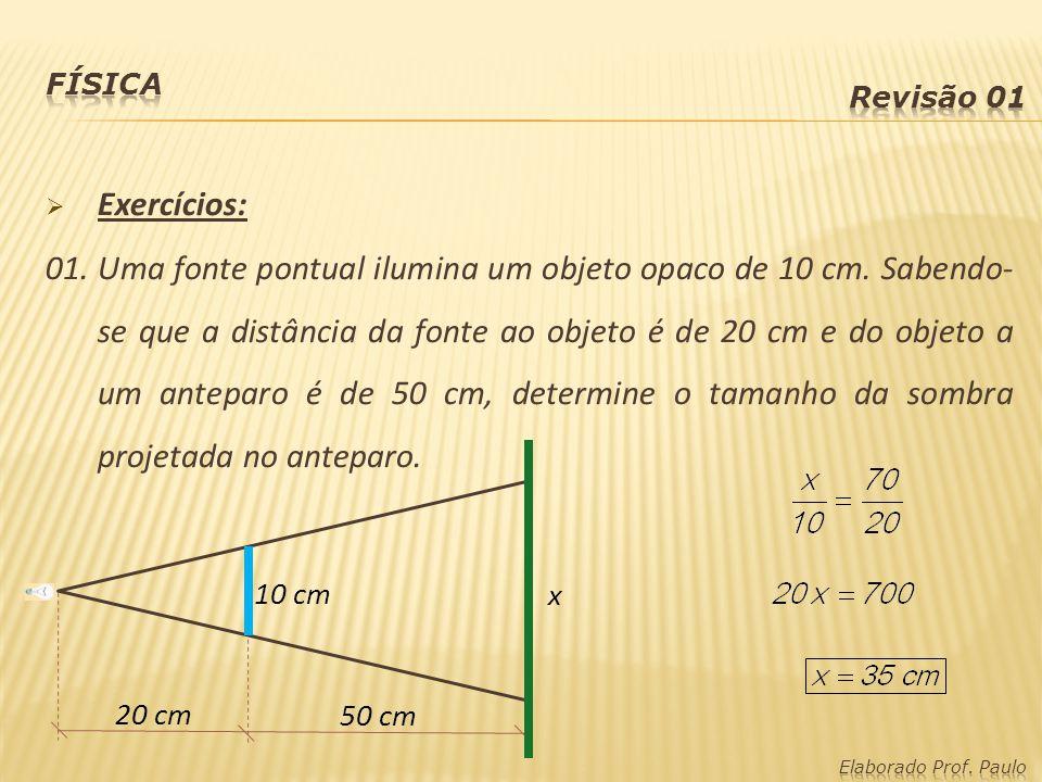 Física Revisão 01. Exercícios: