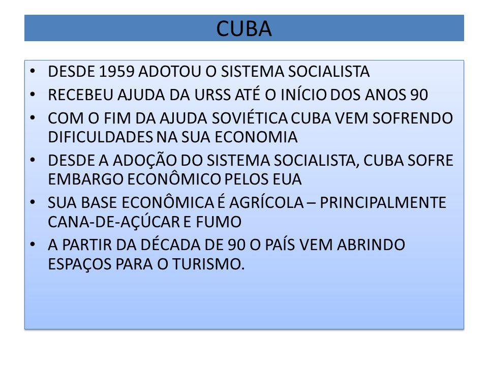CUBA DESDE 1959 ADOTOU O SISTEMA SOCIALISTA