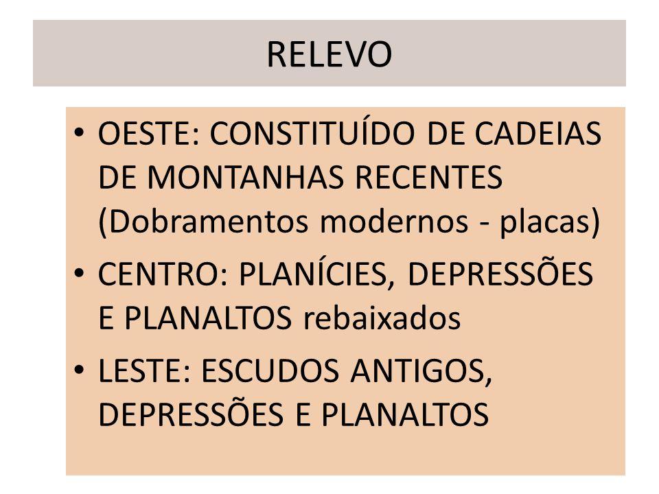 RELEVO OESTE: CONSTITUÍDO DE CADEIAS DE MONTANHAS RECENTES (Dobramentos modernos - placas) CENTRO: PLANÍCIES, DEPRESSÕES E PLANALTOS rebaixados.