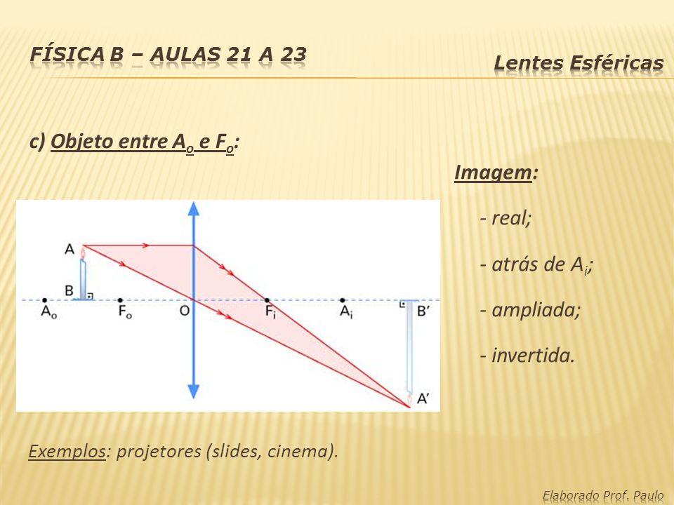 c) Objeto entre Ao e Fo: Imagem: - real; - atrás de Ai; - ampliada;