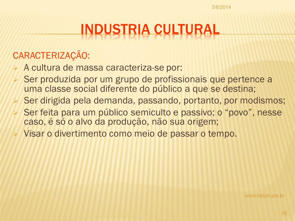 Industria Cultural CARACTERIZAÇÃO: