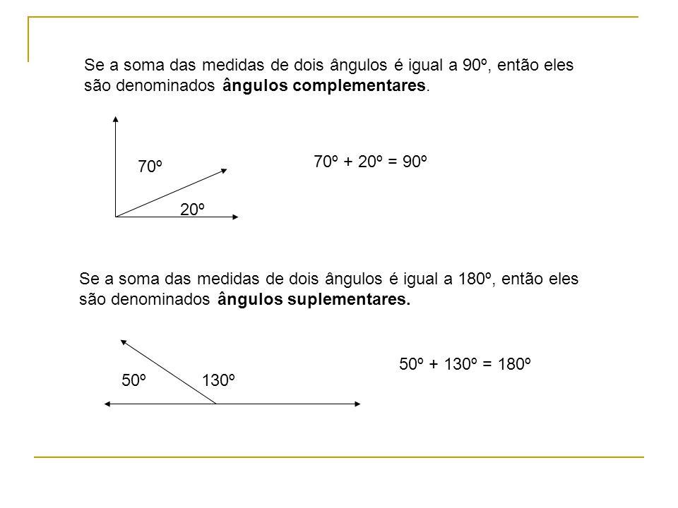 Se a soma das medidas de dois ângulos é igual a 90º, então eles são denominados ângulos complementares.