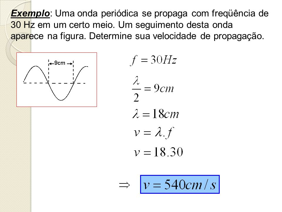 Exemplo: Uma onda periódica se propaga com freqüência de 30 Hz em um certo meio.