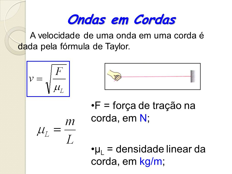 Ondas em Cordas F = força de tração na corda, em N;