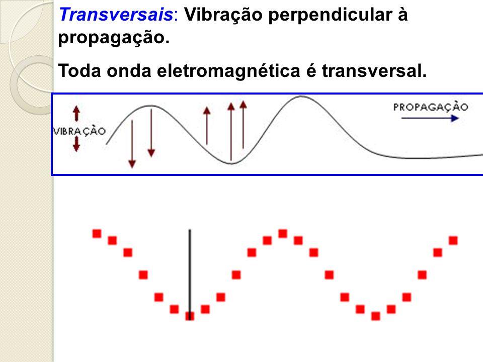 Transversais: Vibração perpendicular à propagação.