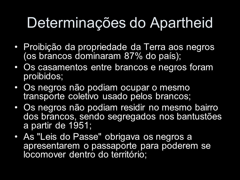 Determinações do Apartheid