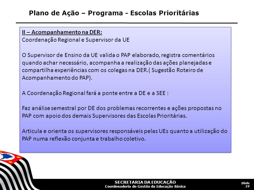 Plano de Ação – Programa - Escolas Prioritárias