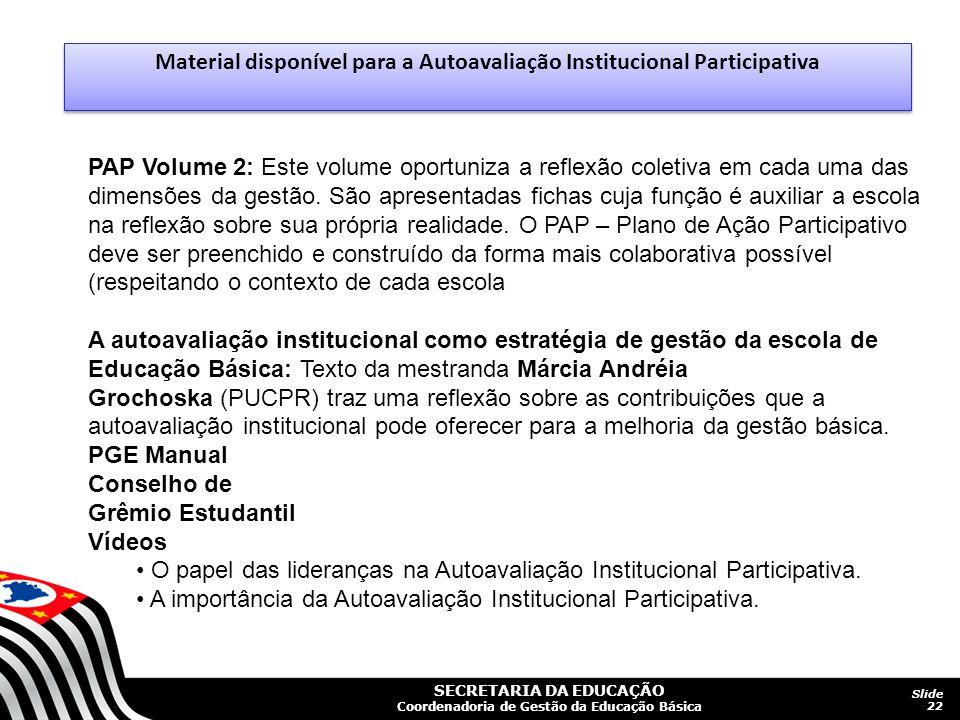 Material disponível para a Autoavaliação Institucional Participativa