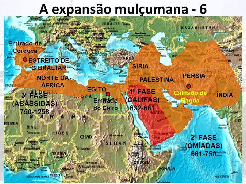 A expansão mulçumana - 6 Muhammad ou Maomé morreu pouco depois da conquista de Meca, deixando os árabes unidos num ideal, a Djihad .