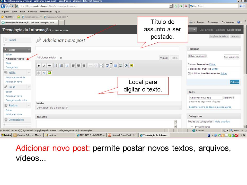 Adicionar novo post: permite postar novos textos, arquivos, vídeos...