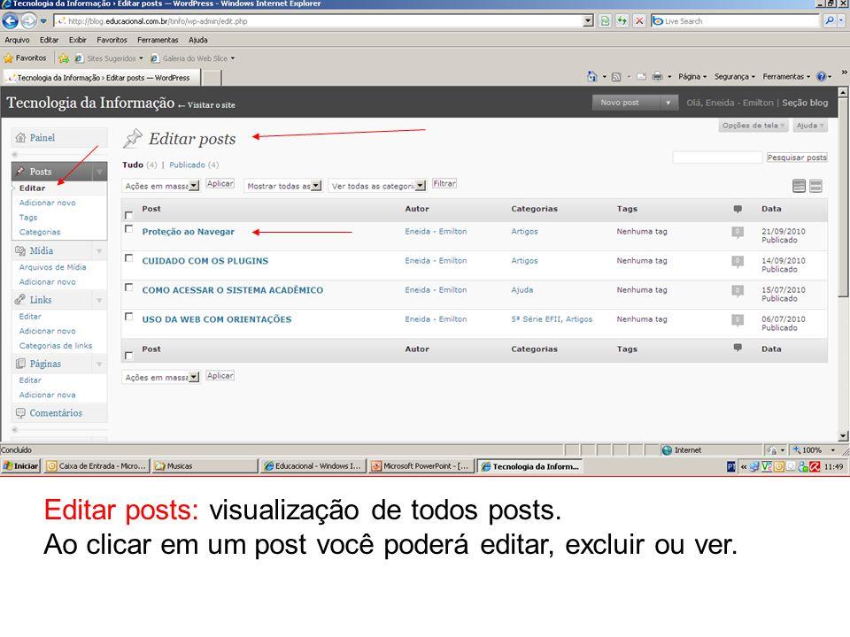 Editar posts: visualização de todos posts.