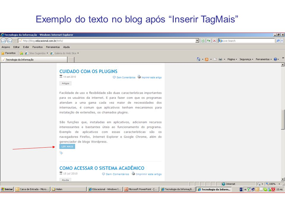 Exemplo do texto no blog após Inserir TagMais