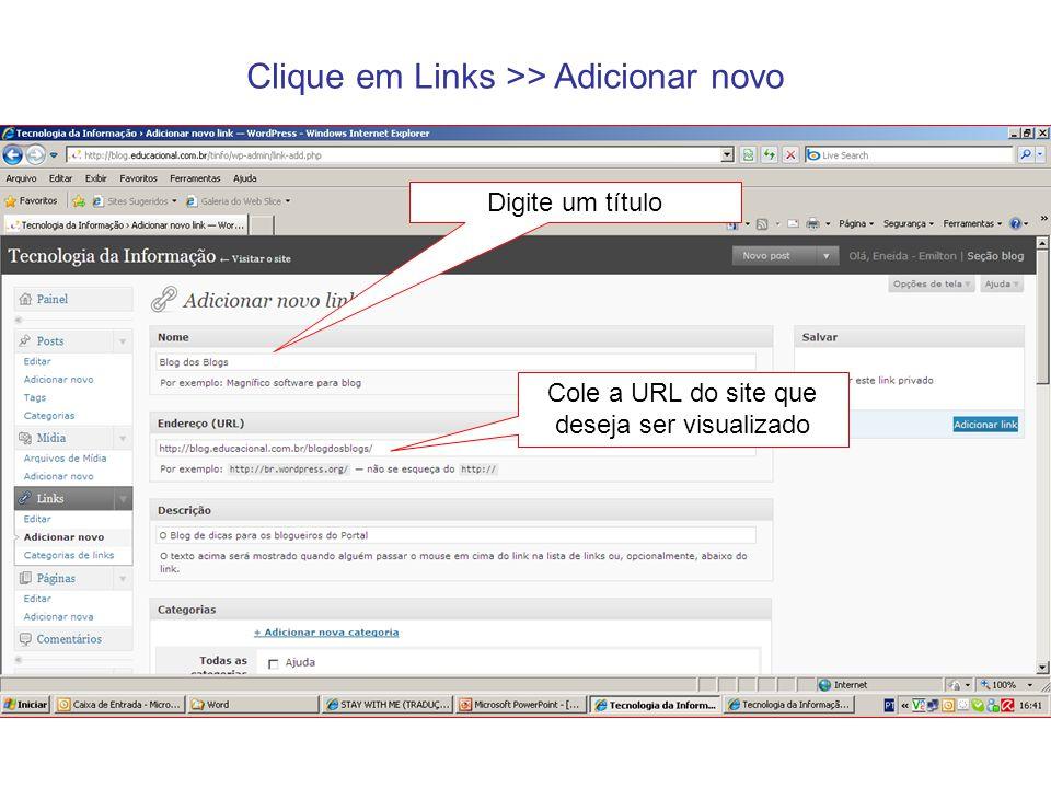 Cole a URL do site que deseja ser visualizado
