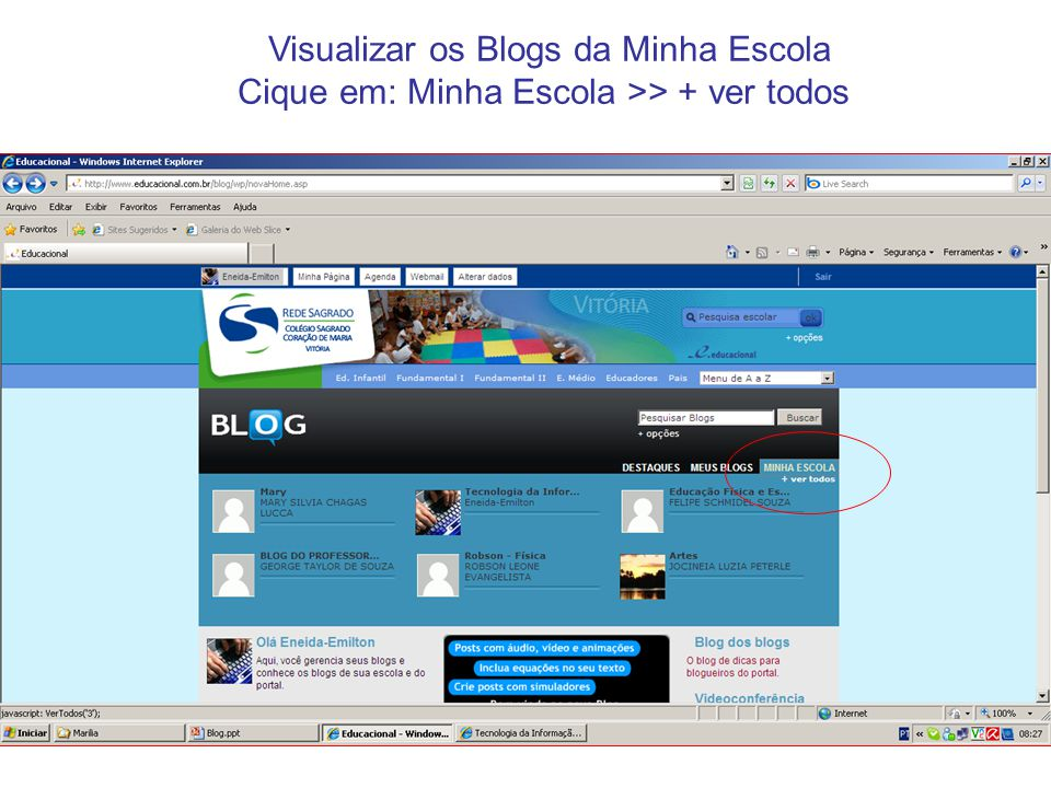 Visualizar os Blogs da Minha Escola