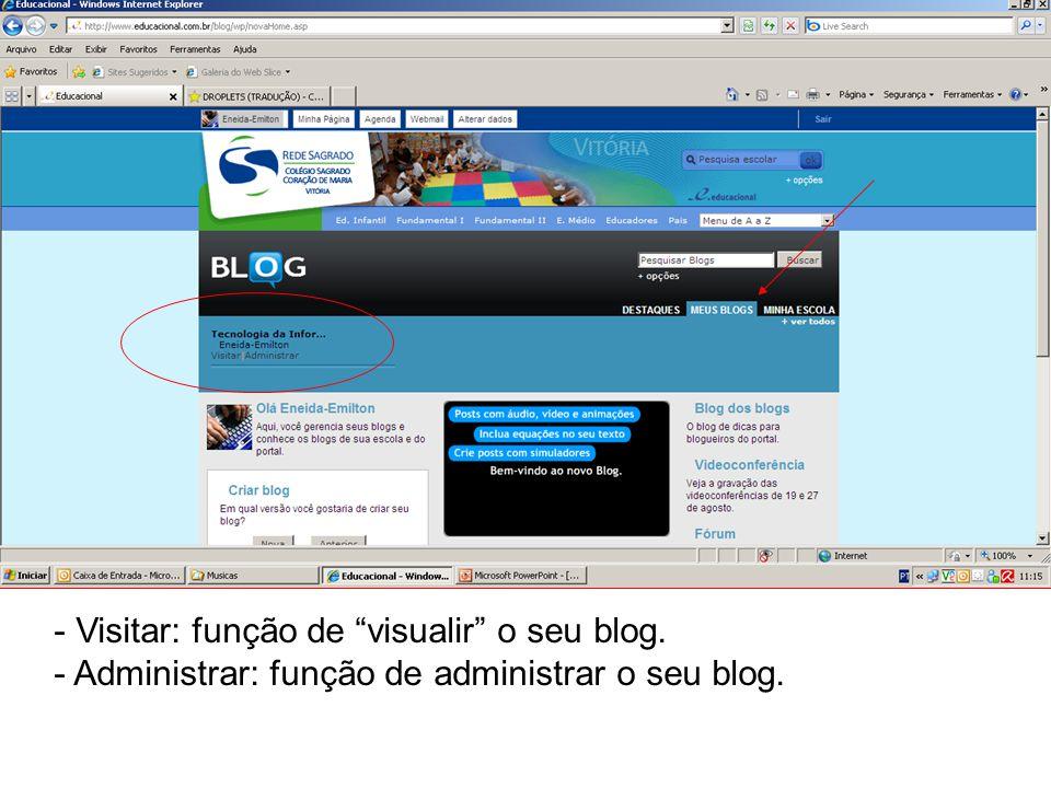 Visitar: função de visualir o seu blog.