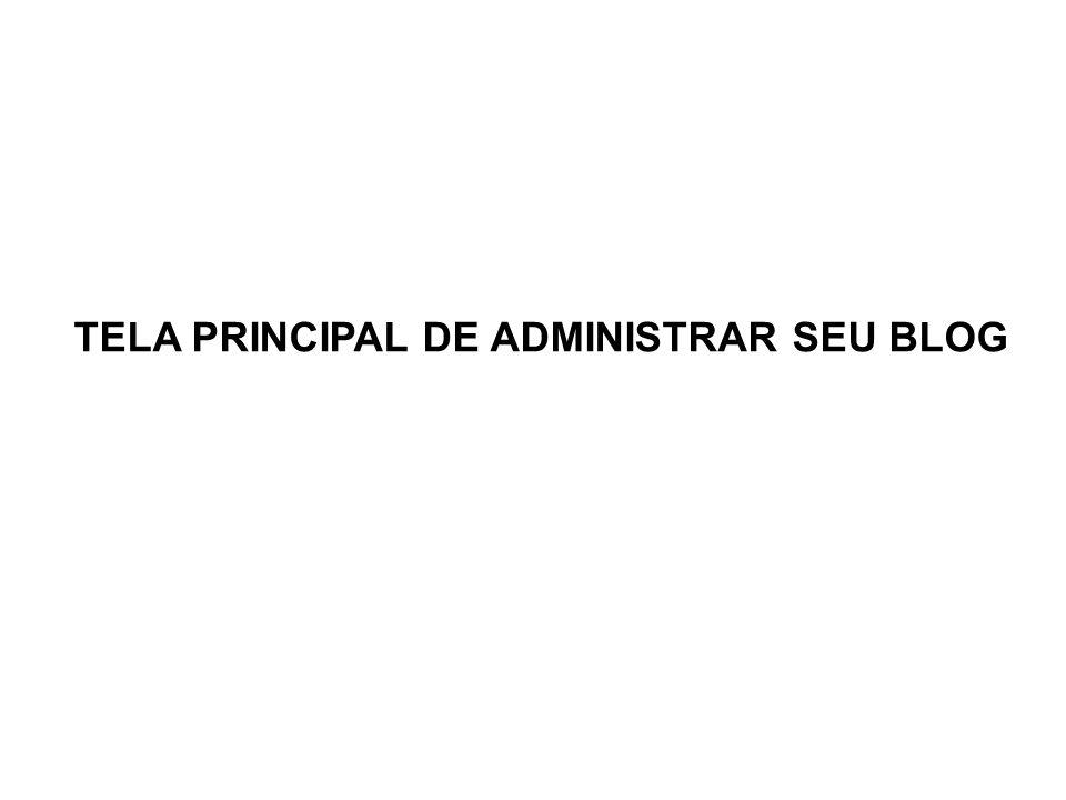 TELA PRINCIPAL DE ADMINISTRAR SEU BLOG