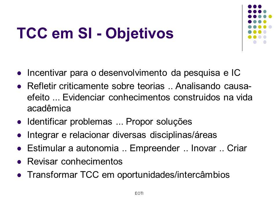 TCC em SI - Objetivos Incentivar para o desenvolvimento da pesquisa e IC.