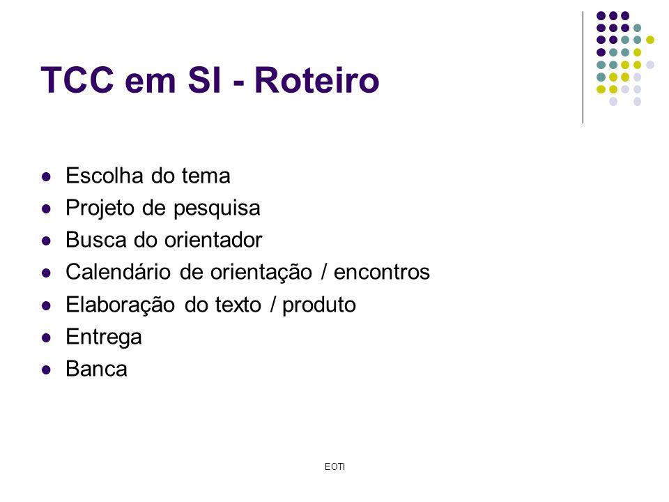 TCC em SI - Roteiro Escolha do tema Projeto de pesquisa