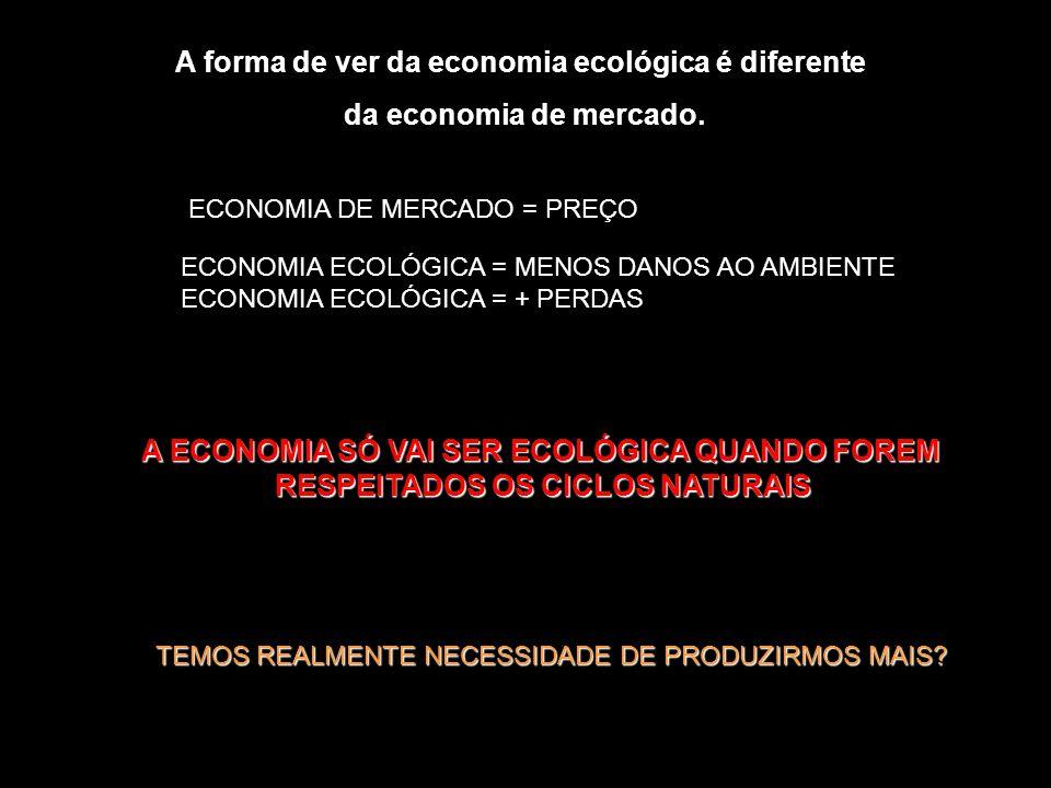 A forma de ver da economia ecológica é diferente