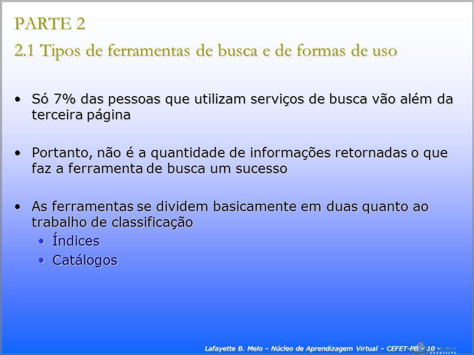 Lafayette B. Melo – Núcleo de Aprendizagem Virtual – CEFET-PB - 10 -