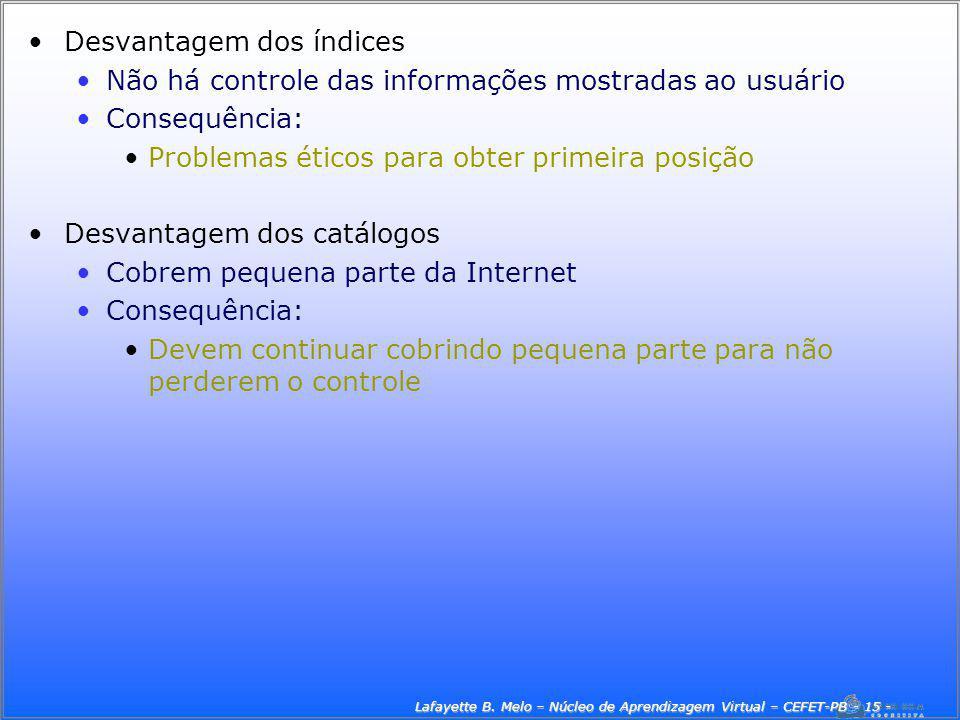 Lafayette B. Melo – Núcleo de Aprendizagem Virtual – CEFET-PB - 15 -