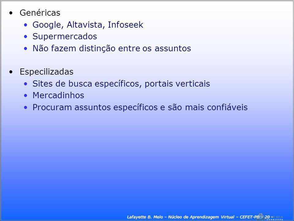 Lafayette B. Melo – Núcleo de Aprendizagem Virtual – CEFET-PB - 20 -