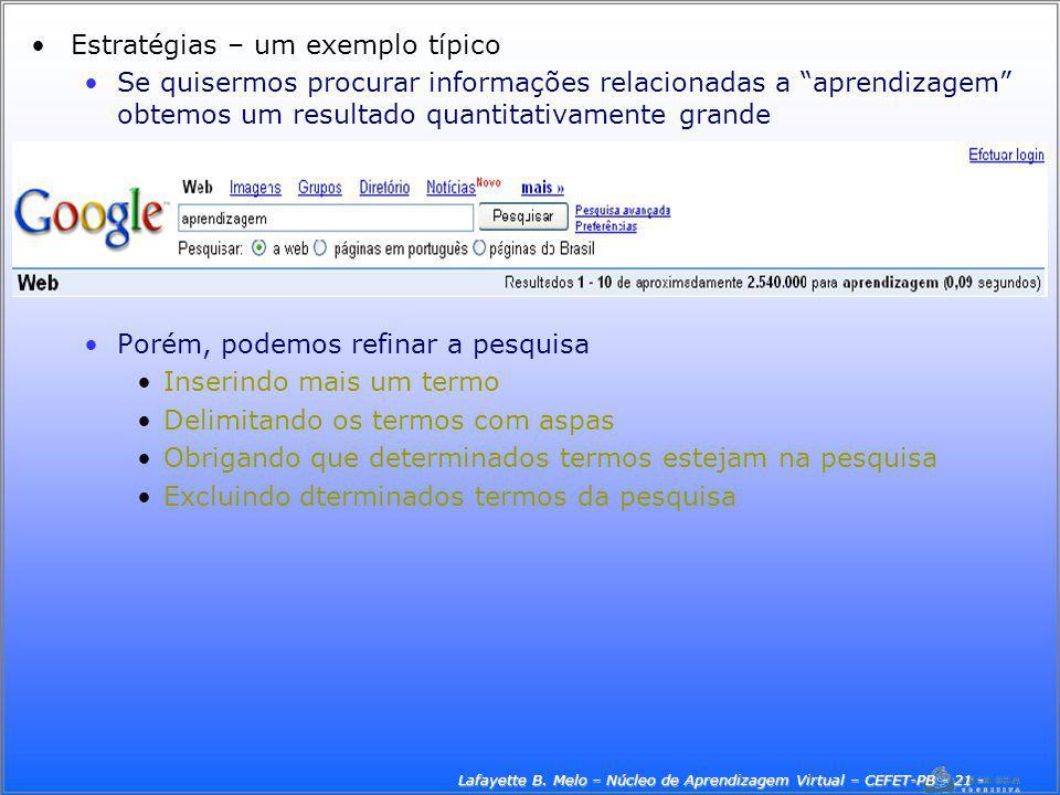 Lafayette B. Melo – Núcleo de Aprendizagem Virtual – CEFET-PB - 21 -