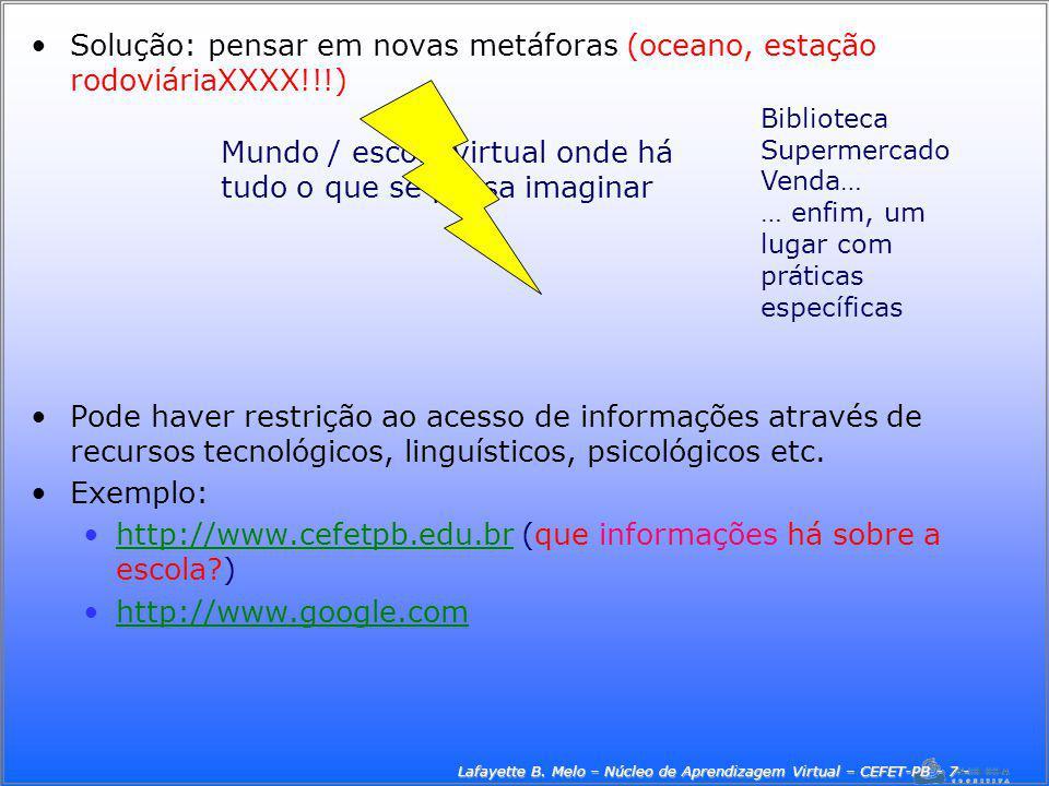 Lafayette B. Melo – Núcleo de Aprendizagem Virtual – CEFET-PB - 7 -