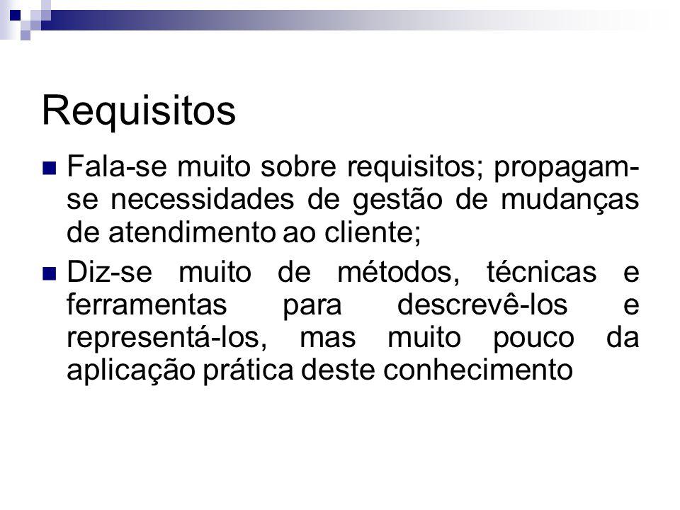 Requisitos Fala-se muito sobre requisitos; propagam-se necessidades de gestão de mudanças de atendimento ao cliente;