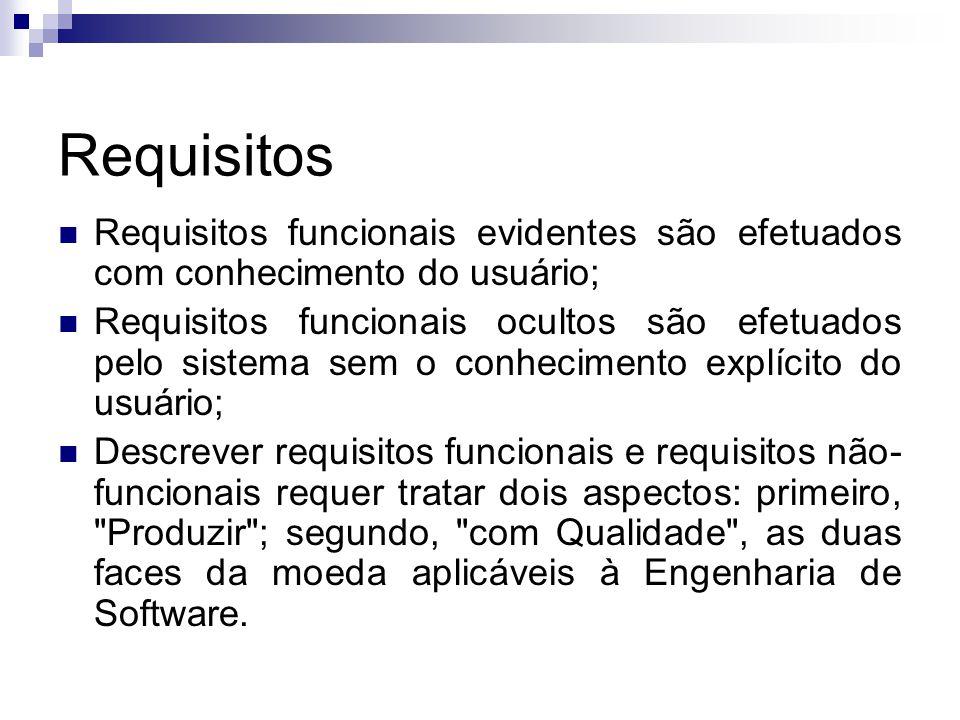 Requisitos Requisitos funcionais evidentes são efetuados com conhecimento do usuário;