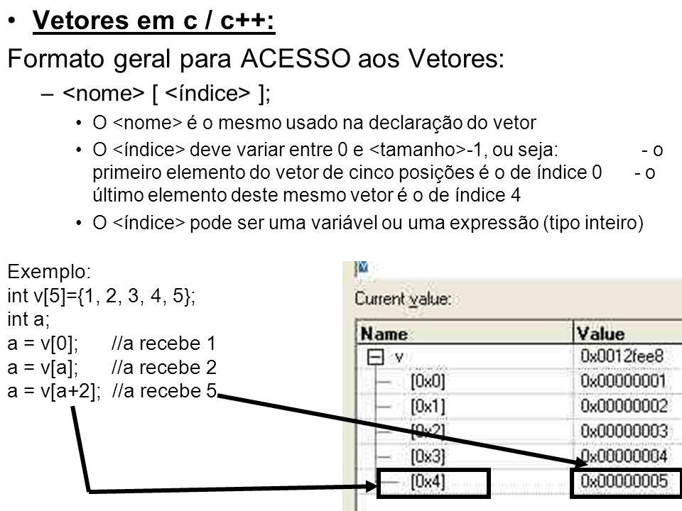 Formato geral para ACESSO aos Vetores: