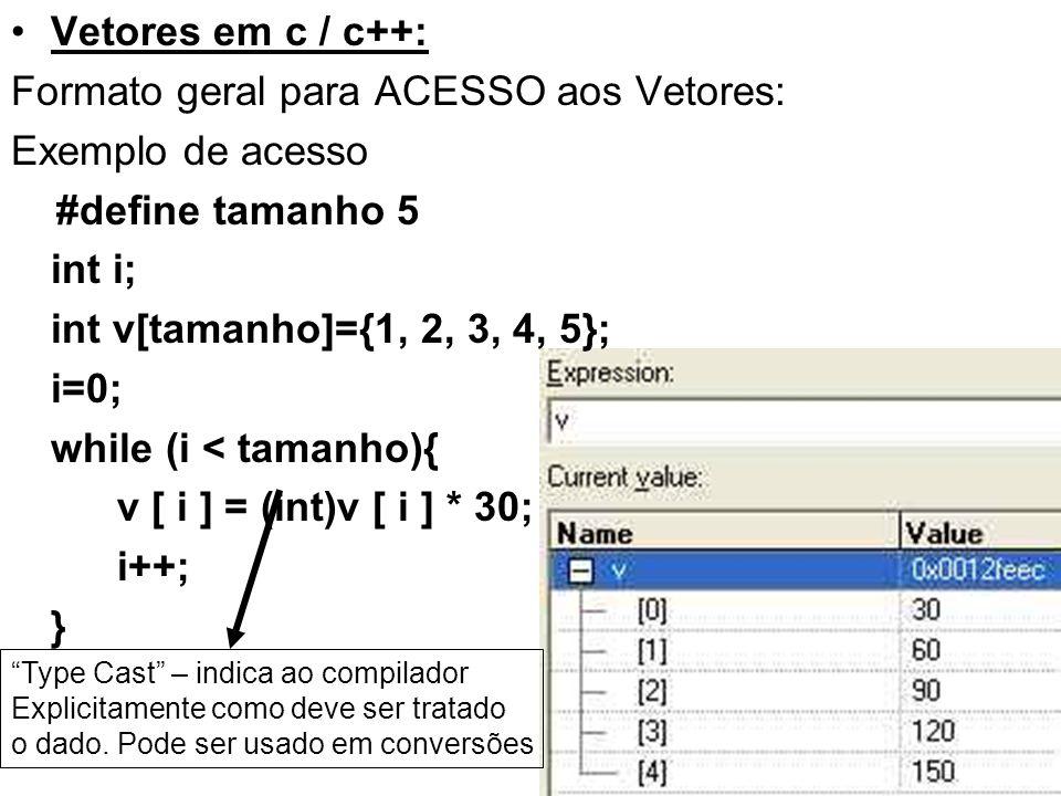 Formato geral para ACESSO aos Vetores: Exemplo de acesso