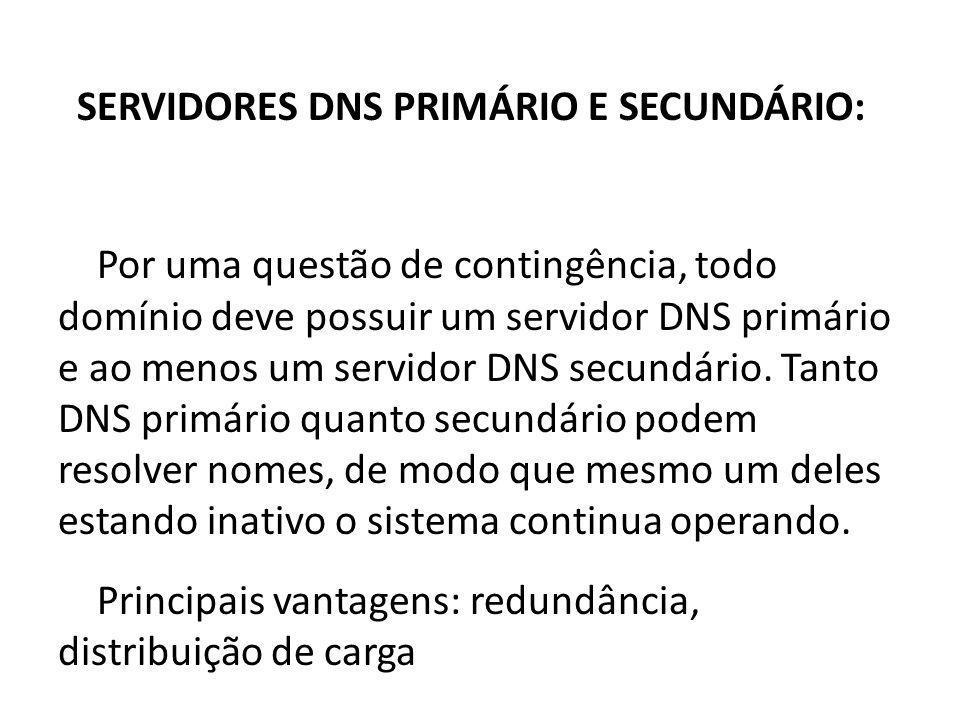 SERVIDORES DNS PRIMÁRIO E SECUNDÁRIO: