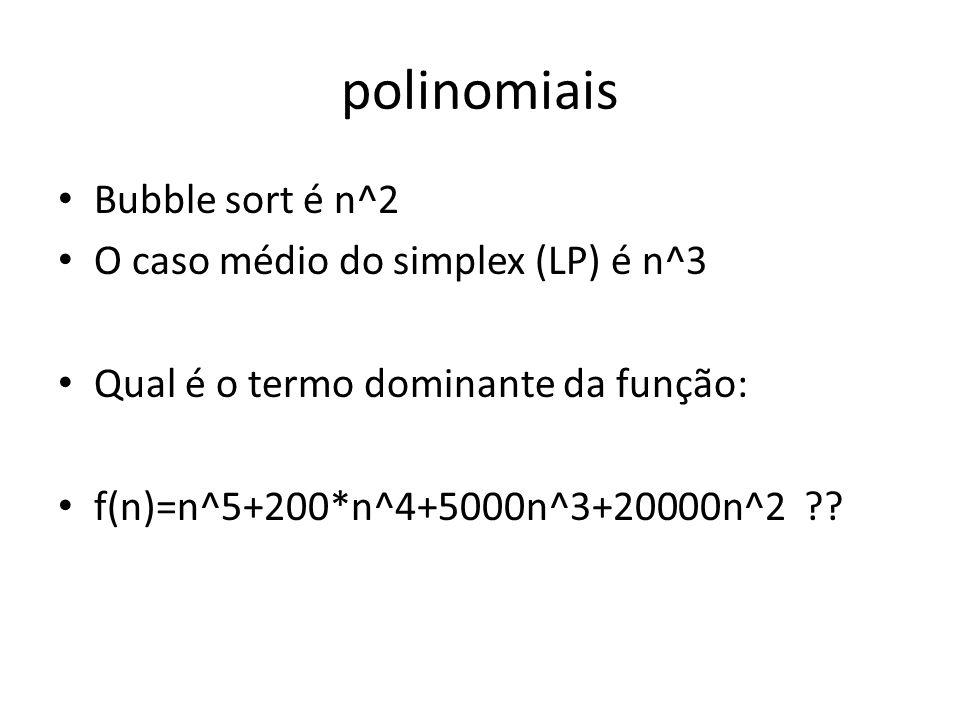 polinomiais Bubble sort é n^2 O caso médio do simplex (LP) é n^3