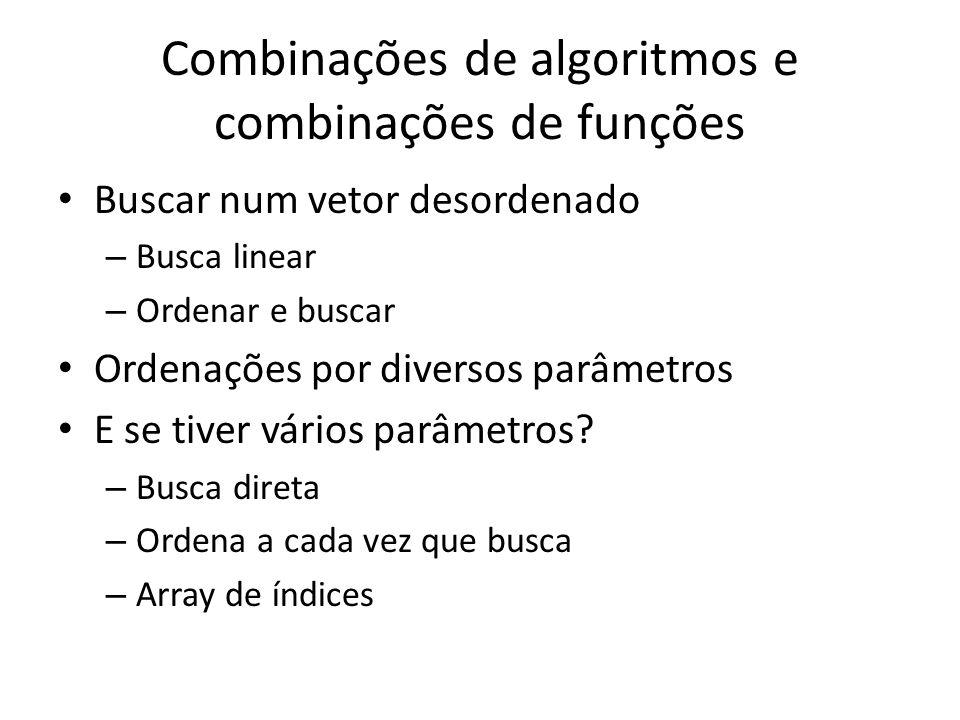 Combinações de algoritmos e combinações de funções