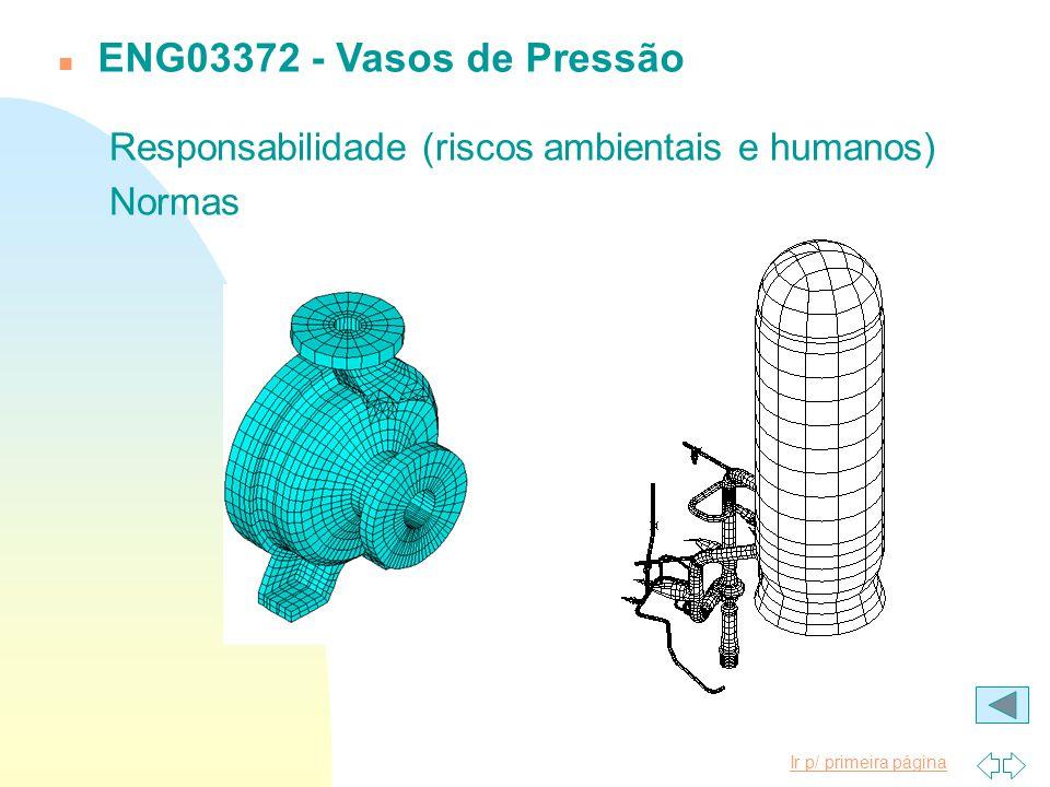 ENG03372 - Vasos de Pressão Responsabilidade (riscos ambientais e humanos) Normas