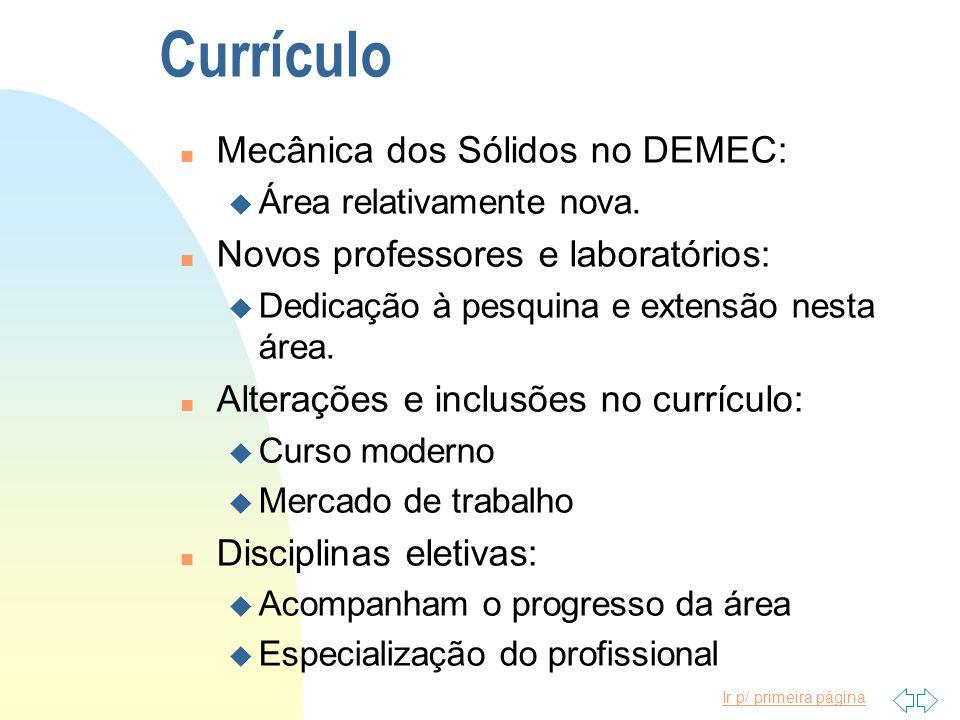 Currículo Mecânica dos Sólidos no DEMEC: