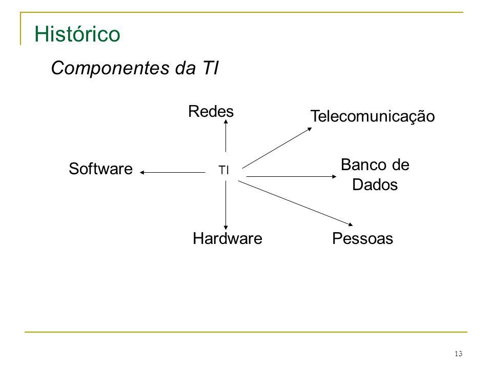 Histórico Componentes da TI Redes Telecomunicação Banco de Dados