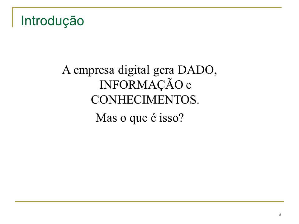A empresa digital gera DADO, INFORMAÇÃO e CONHECIMENTOS.