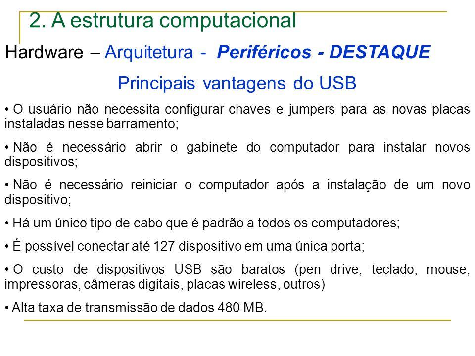 Principais vantagens do USB