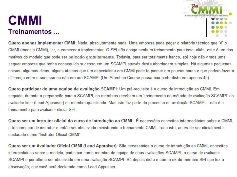 CMMI Treinamentos …