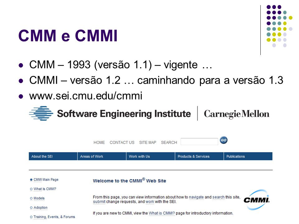 CMM e CMMI CMM – 1993 (versão 1.1) – vigente …