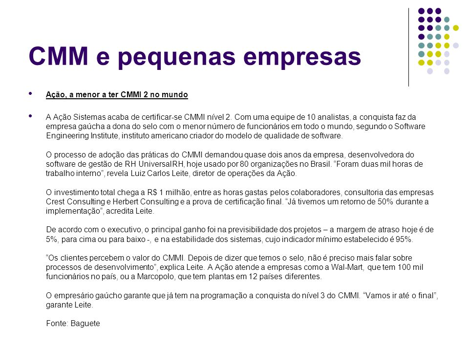 CMM e pequenas empresas