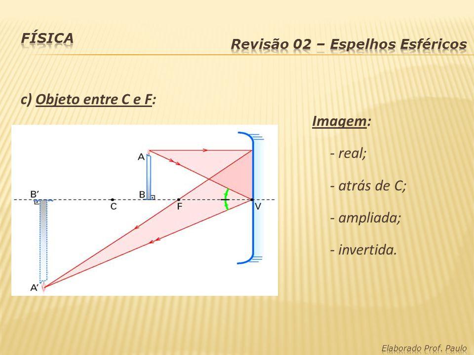 c) Objeto entre C e F: Imagem: - real; - atrás de C; - ampliada;
