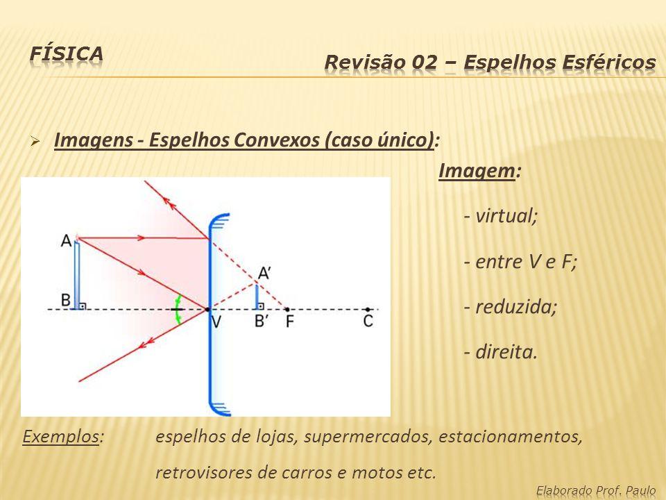 Imagens - Espelhos Convexos (caso único): Imagem: - virtual;
