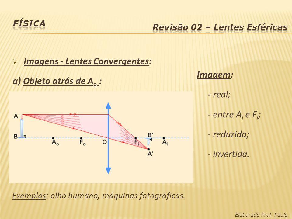 Imagens - Lentes Convergentes: a) Objeto atrás de Ao : Imagem: - real;