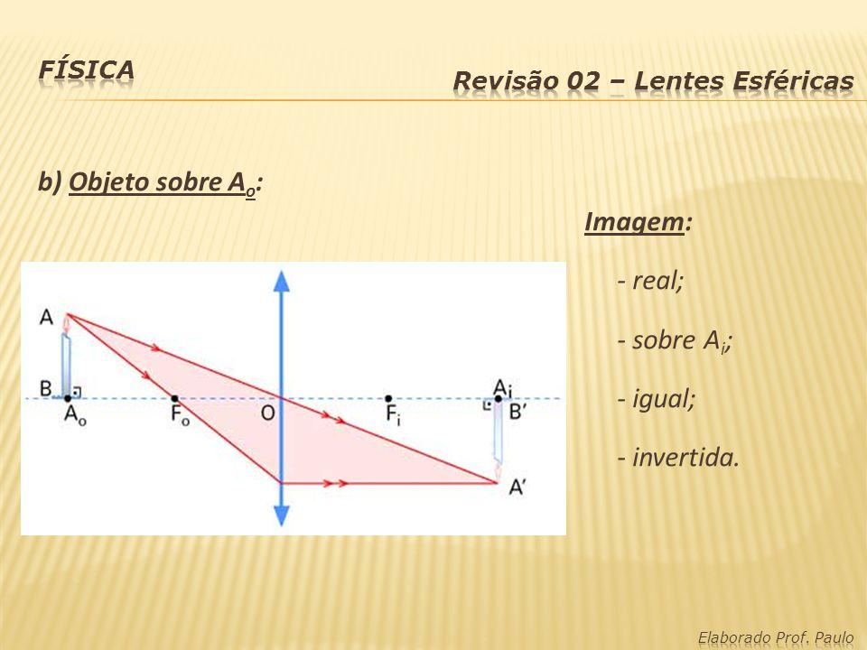 b) Objeto sobre Ao: Imagem: - real; - sobre Ai; - igual; - invertida.